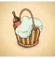 Vintage picnic basket vector image