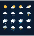 weather icons sun and clouds in sky rain with vector image vector image