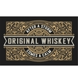 Whiskey Label with vintage ornaments vector image vector image