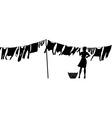 woman hanging washing vector image