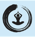 yoga lotus position with enso zen circle vector image