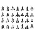 set of the rockets icons on white background vector image