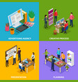 advertising agency isometric design concept vector image vector image