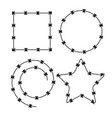 barbed wire black silhouettes frame pattern brush vector image vector image