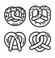 bavarian pretzel icon set outline style vector image