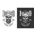 bearded and mustached irish skull label vector image vector image