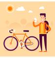Bike Man Selfie vector image vector image