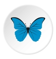 Blue butterfly icon flat style vector image vector image