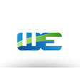 blue green we w e alphabet letter logo vector image vector image