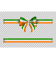 bow and ribbon with irish flag colors vector image vector image