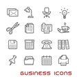 Business and office thin line icons vector image vector image