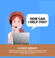 call center headset agent woman bubble client vector image vector image
