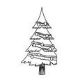 cartoon christmas tree decoration celebration vector image vector image