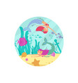 cartoon fairytale underwater banner with vector image