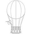 cartoon of man or businessman in hot air ballon vector image