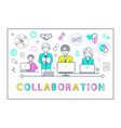 collaboration poster with workers laptops vector image vector image