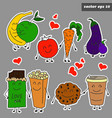 colored cartoon fruits sticker set on grey vector image vector image