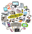 colored sketch electronic devices round concept vector image vector image