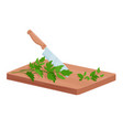 cut parsley green herbs isometric cutting board vector image vector image