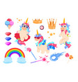 cute unicorns set cartoon rainbow magic wand and vector image vector image