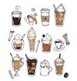 doodle chalk sketch set coffee recipe vector image