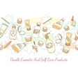 Doodle cosmetic and self care products hand drawn vector image vector image