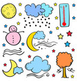 doodle of weather theme element vector image vector image