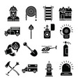 firefighter and fire department icons vector image