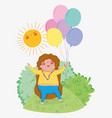 girl game with balloons and sun in the bushes vector image vector image