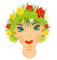 girl with hair by herb vector image vector image