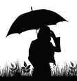girl with umbrella silhouette in nature vector image vector image