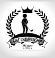 golf sport golfer emblem icon vector image