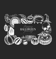 halloween banner template hand drawn on chalk vector image vector image