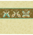 hand draw butterflies on beige squares background vector image vector image
