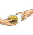 hands with burger pop art vector image vector image