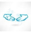 handshake grunge icon vector image vector image
