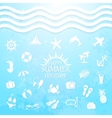 happy summer holiday sea icons vector image vector image