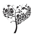 Heart Shaped Black Tree on White Background vector image vector image