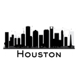 Houston City skyline black and white silhouette vector image vector image