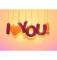 I love you text with hearts vector image