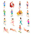 isometric people in summer clothes 3d human vector image