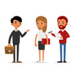 journalists of news channels are take interviewed vector image
