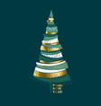 luxury elegant gold and green christmas tree vector image