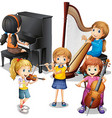 Many children playing classical music vector image vector image