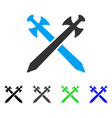 medieval swords flat icon vector image vector image