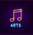 music arts neon label vector image vector image