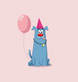 party dog with pink balloon cartoon vector image