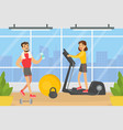 people doing exercises in gym with sports vector image