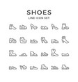 set line icons shoes vector image vector image