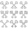 Set of crossed hand drawn keys vector image vector image